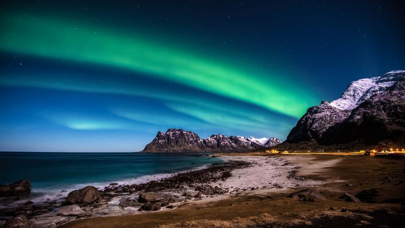 Norway, 5k, 4k wallpaper, HD, Lofoten islands, Mountains, sea, shore, night, northern lights, stars (horizontal)