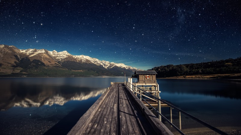 night sky, 5k, 4k wallpaper, stars, mountains, bridge, New Zealand (horizontal)
