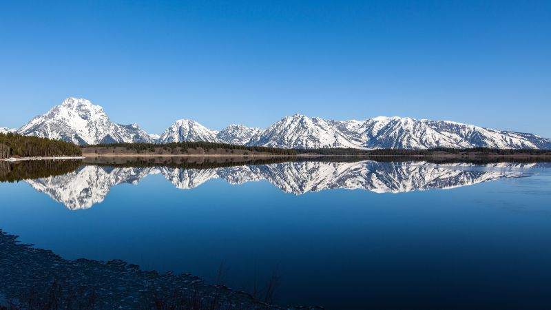 Grand Teton National Park, 5k, 4k wallpaper, mountains, river, reflection, sky (horizontal)
