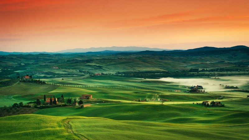 Tuscany, 5k, 4k wallpaper, 8k, Italy, landscape, village, field, sunset, sky, grass (horizontal)
