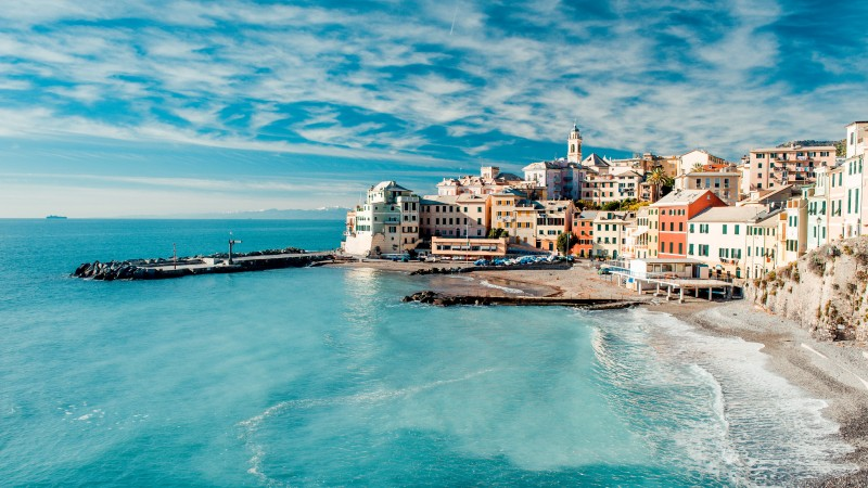 Italy, coast, 5k, 4k wallpaper, 8k, Tyrrhenian Sea, houses, sky, clouds, booking, rest, travel (horizontal)