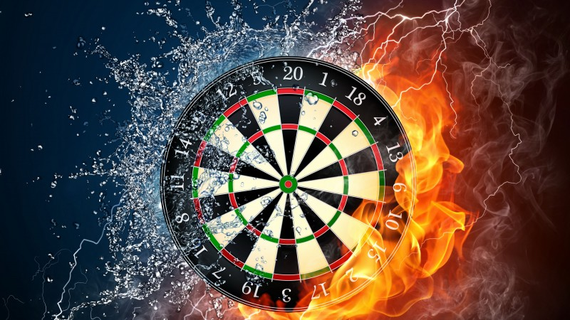 darts, 4k, 5k wallpaper, HD, wheel, target, fire, water (horizontal)