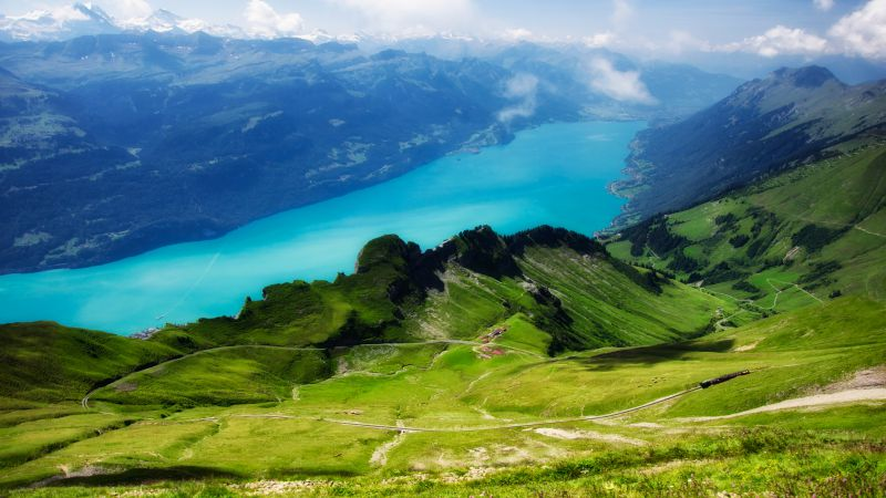 Switzerland, 5k, 4k wallpaper, Alps, mountains, meadows, lake (horizontal)