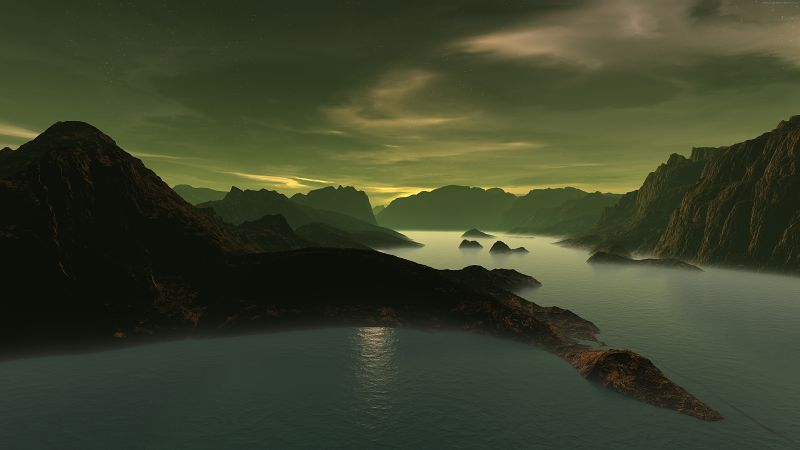 3D, Mountains, lake, night, clouds (horizontal)