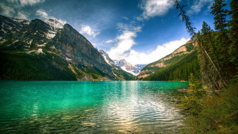 Lake Louise, 5k, 4k wallpaper, Canada, National Park, Banff, glacial lake, vacation, holiday, travel, mountain, forest, beach, sky (horizontal)