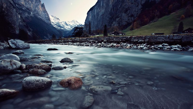 Switzerland, 4k, HD wallpaper, river, mountains, rocks (horizontal)
