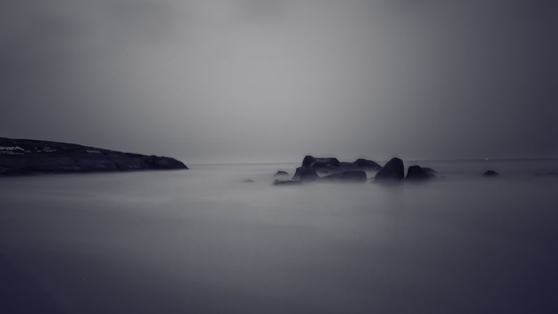 Sea, 4k, HD wallpaper, river, fog, rocks (horizontal)