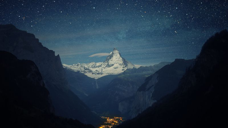 Switzerland, 4k, 5k wallpaper, Alps, mountains, stars, night (horizontal)