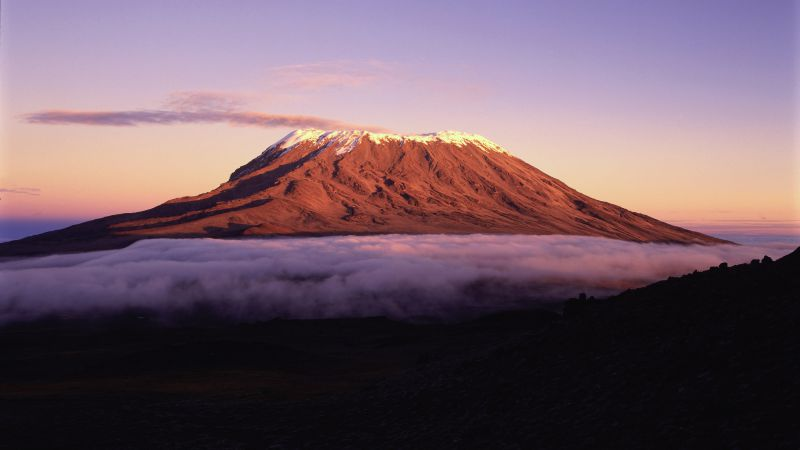 Kilimanjaro, 5k, 4k wallpaper, Africa, mountains, sky, clouds (horizontal)
