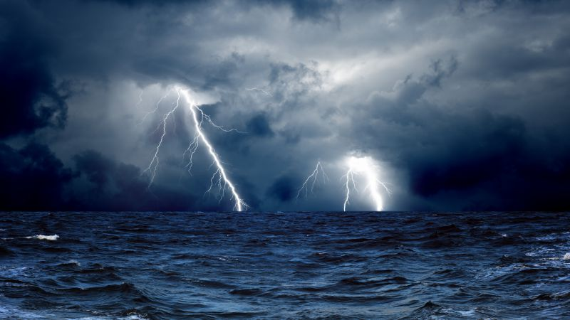 Sea, 5k, 4k wallpaper, 8k, ocean, storm, lightning, clouds (horizontal)