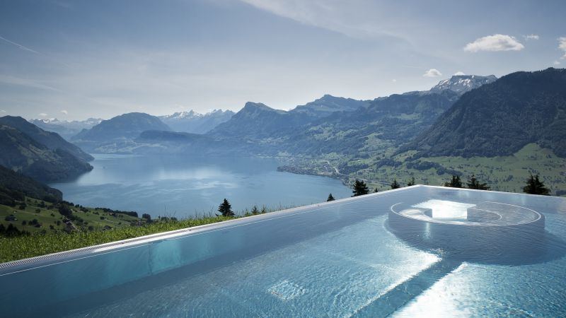 Hotel Villa Honegg, 5k, 4k wallpaper, 8k, Bürgenstock, Switzerland, infinity pool, pool, travel, tourism (horizontal)