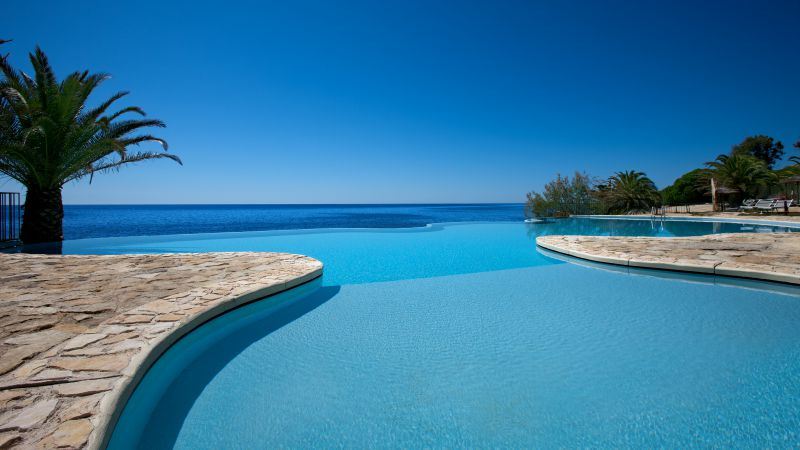 Hotel Costa dei Fiori, 5k, 4k wallpaper, Sardinia, Italy, infinity pool, pool, travel, tourism (horizontal)