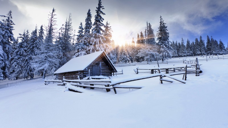 winter forest, 5k, 4k wallpaper, 8k, mountain, sun, snow, fir-trees, village, house,  (horizontal)