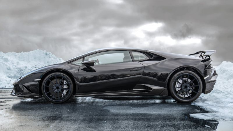 lamborghini huracán, supercar, ice, black. (horizontal)