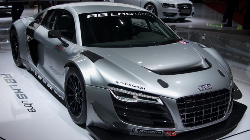Audi R8 LMS, coupe, supercar, gray. (horizontal)