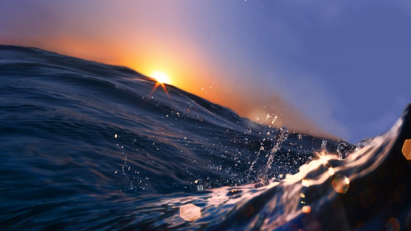 Sea, 5k, 4k wallpaper, 8k, Ocean, Water, sunset, sunrise, blue, rays (horizontal)
