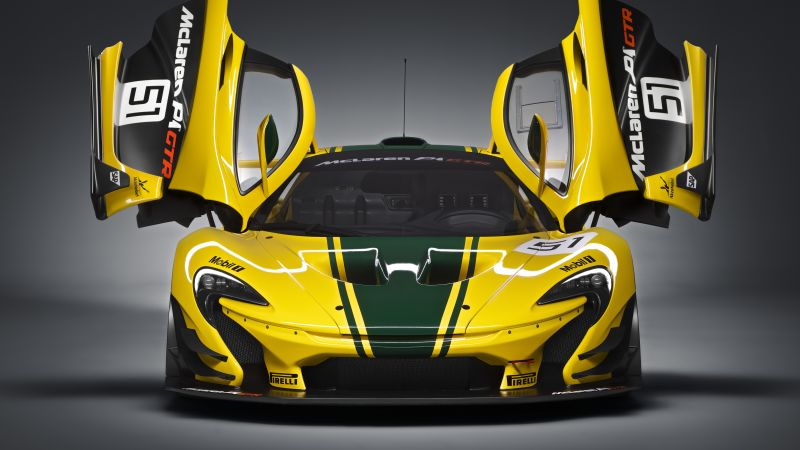 McLaren P1 GTR, hypercar, sedan, yellow. (horizontal)