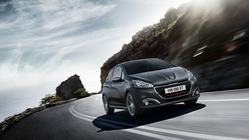 peugeot 208 gti, hatchback, gray, rocks. (horizontal)