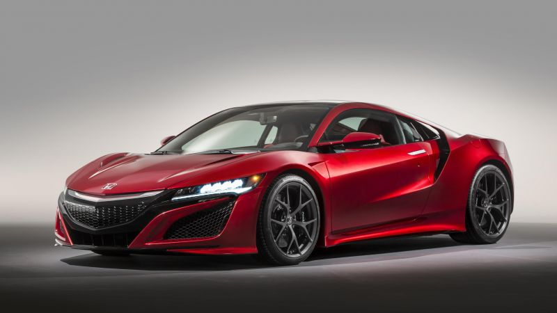 Acura nsx, supercar, coupe, hybrid, red. (horizontal)