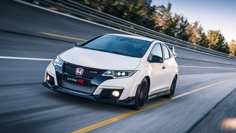 Honda civic type R, hatchback, Nurburgring, white. (horizontal)
