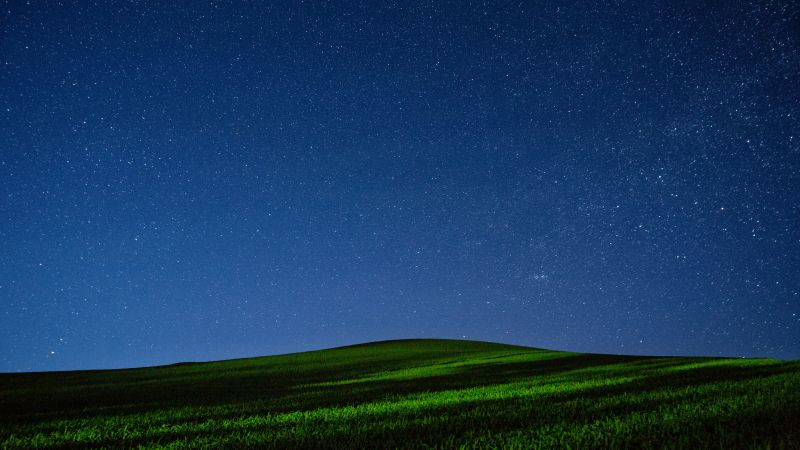 Meadows, 5k, 4k wallpaper, night, stars, sky (horizontal)