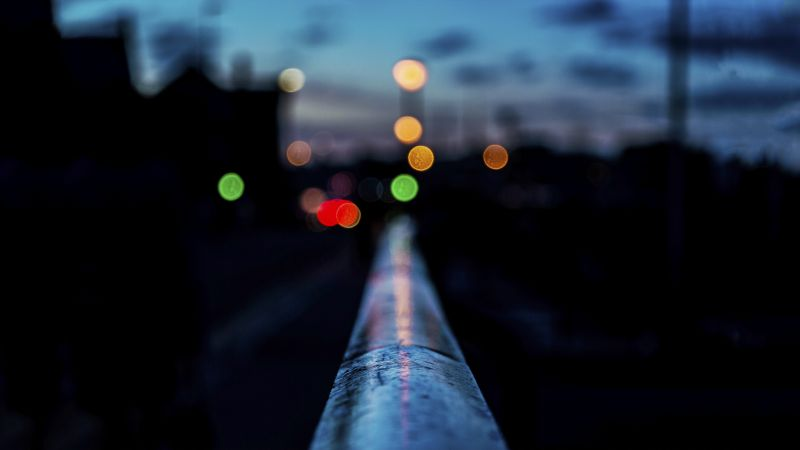Railing, 4k, 5k, HD wallpaper, night, bokeh (horizontal)