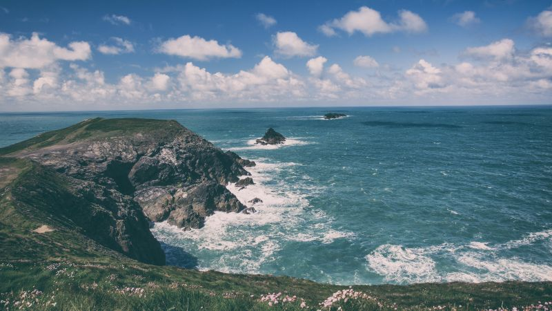 Cornwall, 5k, 4k wallpaper, England, coastline, rocks, sky, clouds (horizontal)