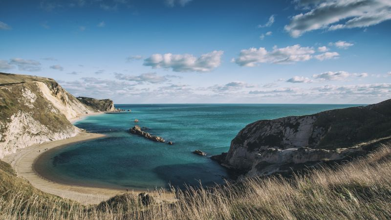 Jurassic Coast, 5k, 4k wallpaper, Dorset, England, rocks, sky, clouds (horizontal)