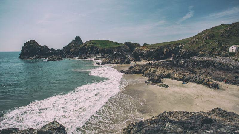 Kynance Cove, 5k, 4k wallpaper, 8k, Lizard peninsula, Cornwall, England, bay, shore, rocks (horizontal)