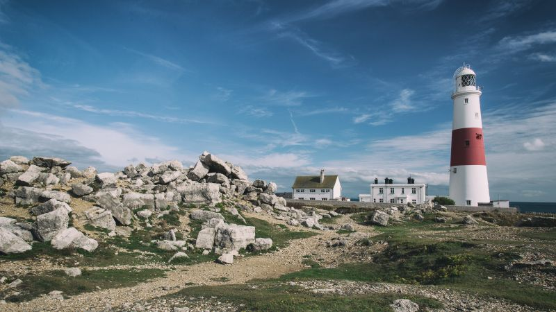 Portland Bill Lighthouse, 4k, 5k wallpaper, Jurassic Coast, Dorset, England, hills, stones, sky (horizontal)