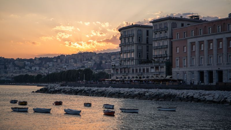 Napoli, Italy, sunset, coast, shore (horizontal)