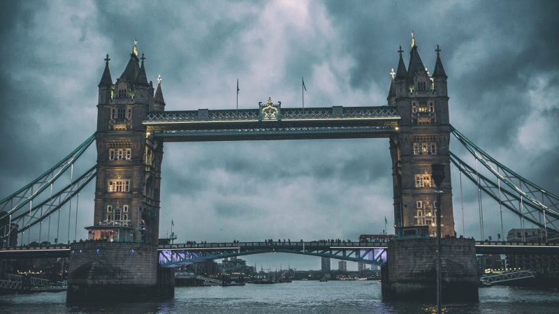 Tower Bridge, London, Thames, clouds (horizontal)
