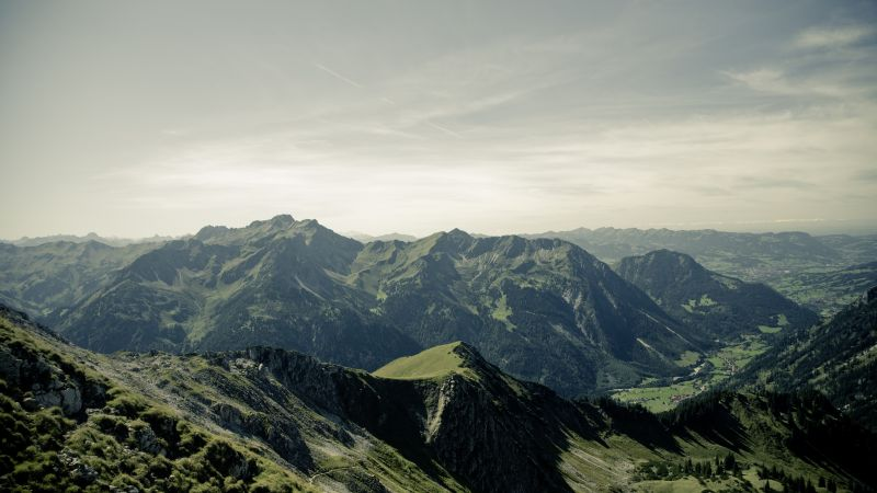 Allgaeu, 4k, 5k wallpaper, Germany, mountains, hills, sky (horizontal)