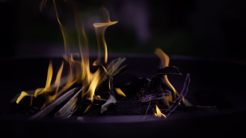 Fire, flame, macro, bonfire (horizontal)