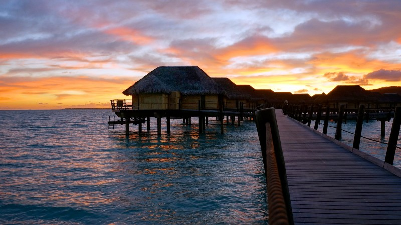 French Polynesia, 4k, HD wallpaper, sunset, sky, clouds, vacation, rest, travel, booking, ocean, bridge, bungalow (horizontal)