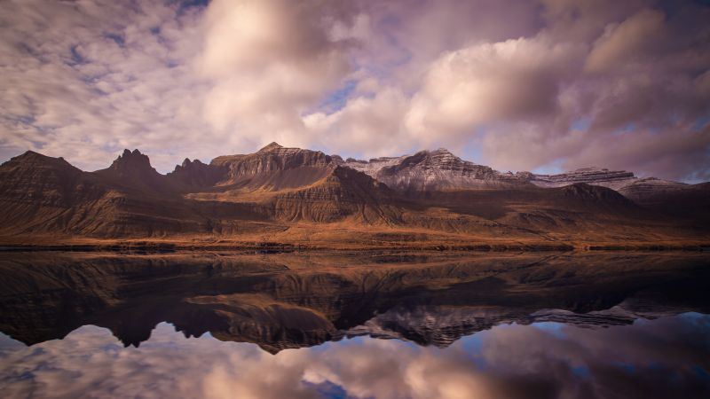 Iceland, 4k, 5k wallpaper, mountains, river, clouds (horizontal)