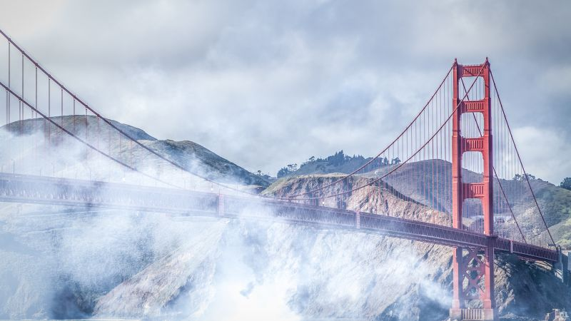 San Francisco, 4k, 5k wallpaper, Golden Gate, USA, fog, bridge (horizontal)