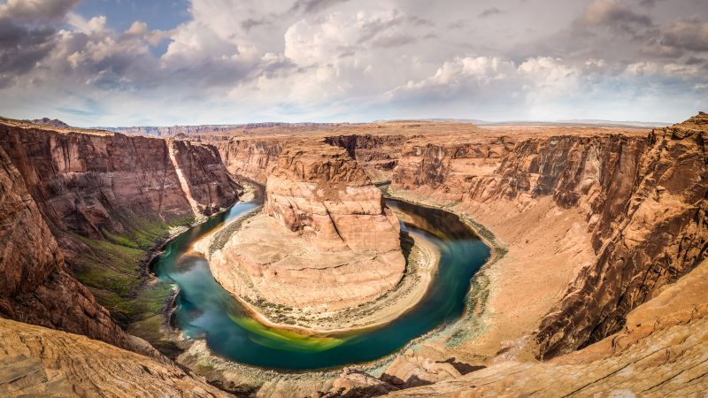 Horseshoe Bend, 4k, 5k wallpaper, 8k, Arizona, USA, rocks, clouds (horizontal)