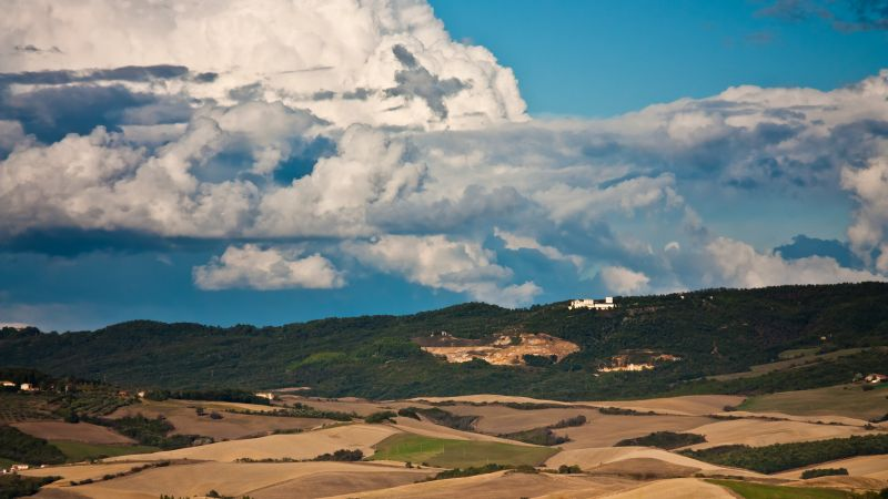 Toscana, 4k, 5k wallpaper, Italy, meadows, clouds, sky (horizontal)