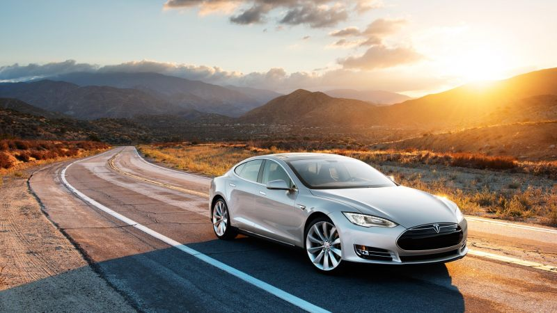 Tesla model x, electric, coupe, luxery, sunset, grey. (horizontal)