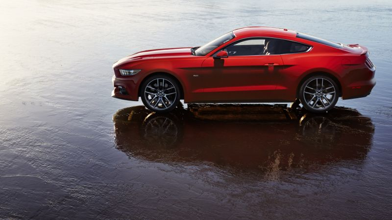 Ford Mustang, red, coupe, muscle car. (horizontal)
