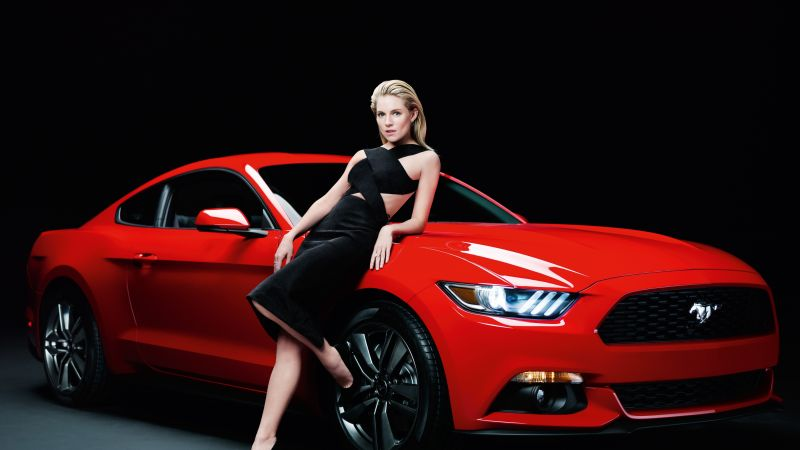 Ford Mustang, Sienna Miller, girl, red, coupe. (horizontal)
