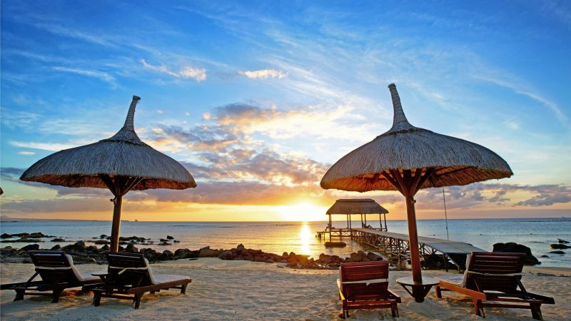 Mauritius, sunset, Indian ocean, beach, sand, travel, tourism (horizontal)