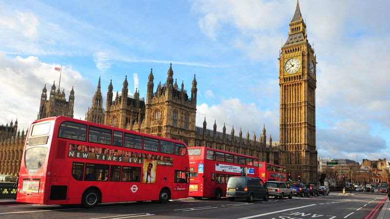 London, England, Big Ben, Westminster Abbey, city, bus, travel, tourism (horizontal)