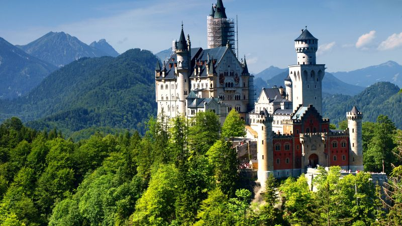Neuschwanstein Castle, Bavaria, Germany, Alps, mountain, castle, travel, tourism (horizontal)