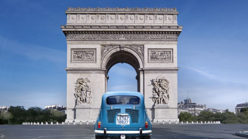Paris, France, Arc de Triomphe, monument, travel, tourism, car (horizontal)