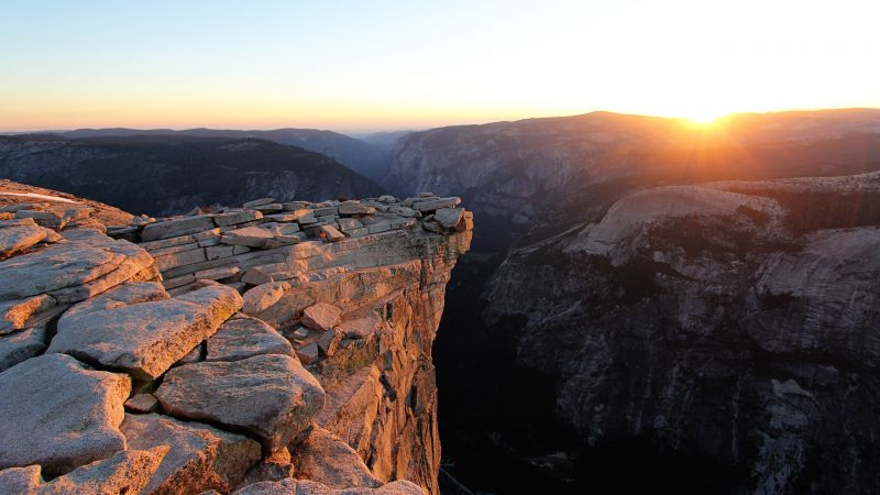 Half Dome, 5k, 4k wallpaper, 8k, USA, mountains, sunset, rocks (horizontal)