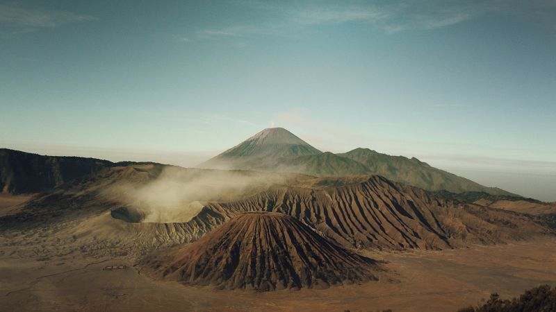Bromo, 4k, 5k wallpaper, Indonesia, volcano, sand (horizontal)