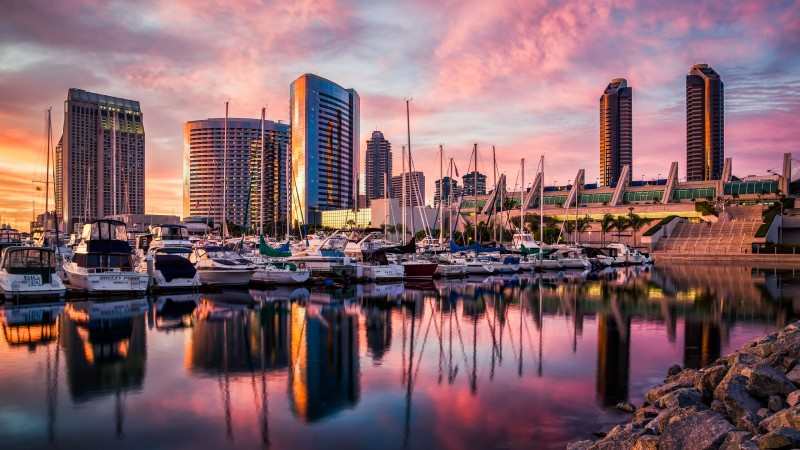 San Diego, harbor, Sunset, sunrise, water, reflections, city, travel (horizontal)