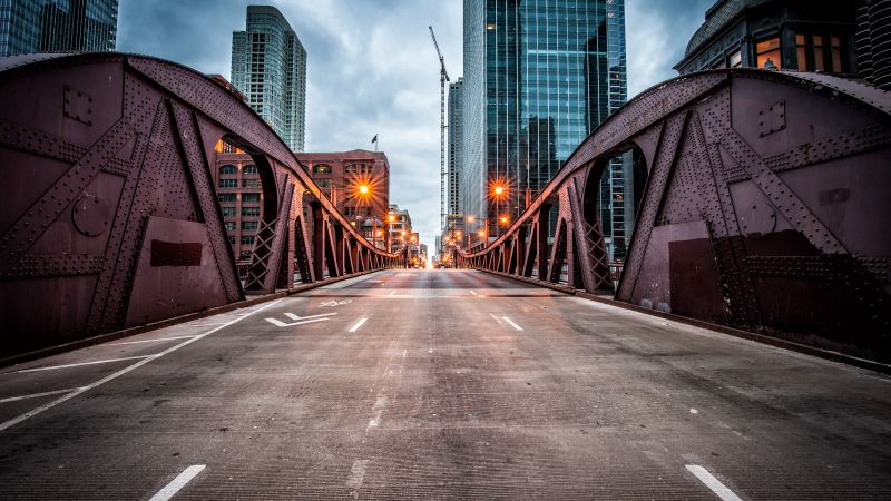 Clark Street Bridge, Chicago, USA, travel, tourism (horizontal)